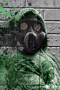 Hombre con máscara de gas. Tecnología