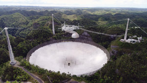 Radiotelescopio de Arecibo como lucía en el 2018 cuando celebró sus 55 años.